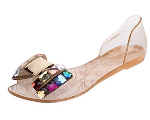 Minetom Dame Abend Beiläufige Flache Mode Bling Bowtie Gelee Slipper Sommer Sandalen Vorne offener Schuh Schuhe Gold EU 39