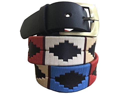 Carlos Diaz Cinturón de polo argentino de cuero Negro bordado para hombres y mujeres unisex (90 cm/ 32 Inches)