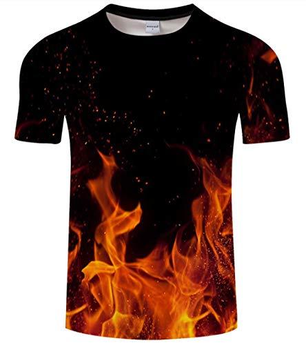 lienhao Hip-Hop-Feuer 3D-Druck T-Shirt Herrenmode lustige T-Shirt lässig Sommerjacke und T-Shirt Herren Gondeln 2018 neuen Bären @ 6XL_Lucky