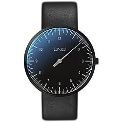 Botta-Design UNO titan Black Edition Armbanduhr - Einzeigeruhr, Titan, schwarzes Zifferblatt, Lederband