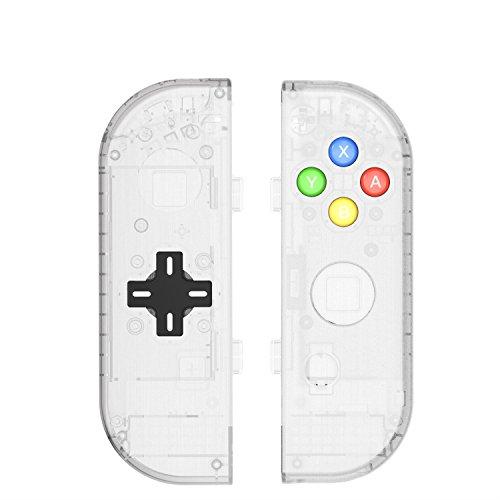 basstop DIY Ersatz Gehäuse Set für Schalter NS NX Konsole Rechts und Links Joy-Con Controller Wechseln, Ohne Elektronik Joycon D-Pad-Matte Clear -
