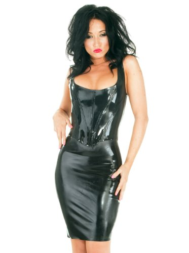 Honour-Womens-Sexy-Corset-Top-in-Black-Rubber-Tudor-Style-Push-Up-Front