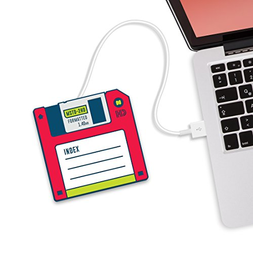Just Mustard Hot-Disk Scaldatazza USB a Forma di Floppy Disk, Rosso s