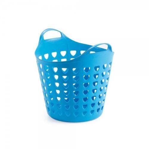 Flexibler Aufbewahrungskorb für Spielzeug, Wäsche, u.v.m. in Blau mit Belüftungslöchern. 35 Liter Volumen, mit Zwei großen Henkeln. Topp
