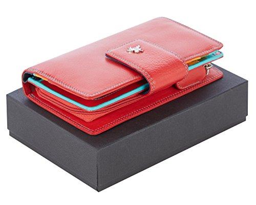"""Visconti portafoglio di pelle da donna a piegatura doppia """"Spectrum"""" multicolore (SP30): (Multi nero (black multi)) Multi rosso (red multi)"""