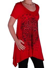 Eyecatch plus - Damen Graphic Tiger Lange drapierte Frauen Sparkle Kurzarm Stretch Top Größen 44 - 56