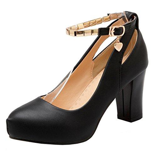 AIYOUMEI Damen Riemchen Pumps Blockabsatz High Heel Schuhe mit Knöchelriemchen Schwarz