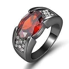 Idea Regalo - Scpink Anello zircone in oro nero rubino Anello da uomo festaiola europea e americana (8, Nero)