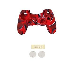 MagiDeal Rot Silikon Schutz Hülle mit D Tasten Kappen kompatibel mit PS4-Steuerung