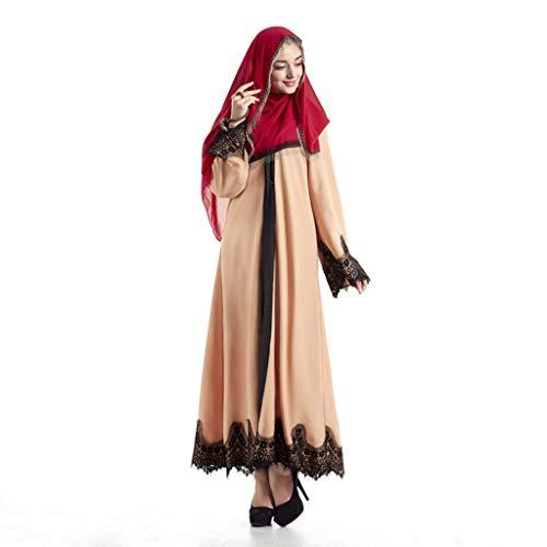 Lucky Mall Damen Spitze Muslimische Ramadan Retro Langer Rock, Islamische Gebetskleidung Mittlerer Osten Saudi Arabisch Ethnische Kleidung Lange Ärmel Kittel -