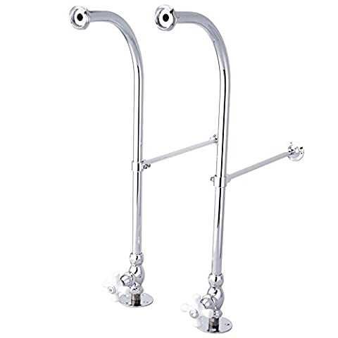 Kingston Brass Cc451Cx Vintage Freestanding Water Supply With Stop, Adjustable Height Wall Brace, Ch