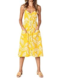 Vestidos Mujer Casual,Mujeres Vacaciones Rayas Damas Verano Playa Botones Vestido de Fiesta LMMVP