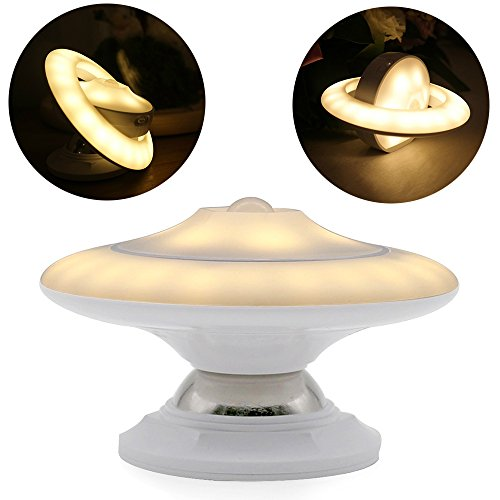 Sayou® LED Nachtlichter / LED Sensorleuchte / 360° Drehendes Licht / Nachtlicht Mit Bewegungsmelder, Abnehmbar & Magnetische & Tragbar USB Wiederaufladbar FüR Schlafzimmer Badezimmer KüChe Flur (Warm White)