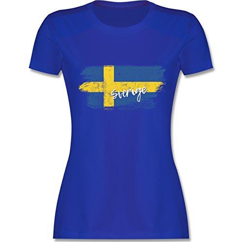 Fußball-Weltmeisterschaft 2018 - Schweden Vintage - XXL - Royalblau - L191 - Damen T-Shirt Rundhals