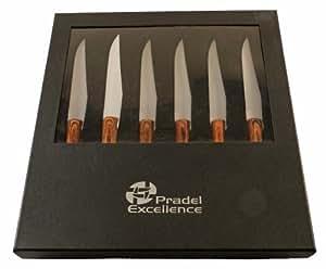 Pradel Excellence CB 6SETA Coffret Céramique de 6 Couteaux Steak Manche Bois