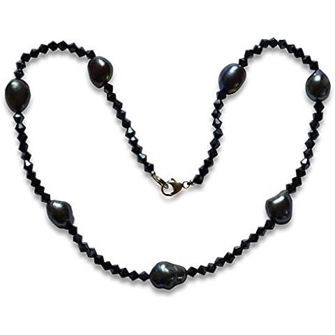 Collar de perlas natural de freshwater, perlas cultivadas de agua dulce, pepitas, natural, negro, 10-11mm, plata de ley 925