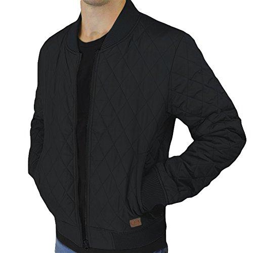 urban air   Street Classics   Bomberjacke   Herren   mit Lederpatch, gesteppt   schwarz, navy, weinrot oder olive   M,L, XL (XL, schwarz)