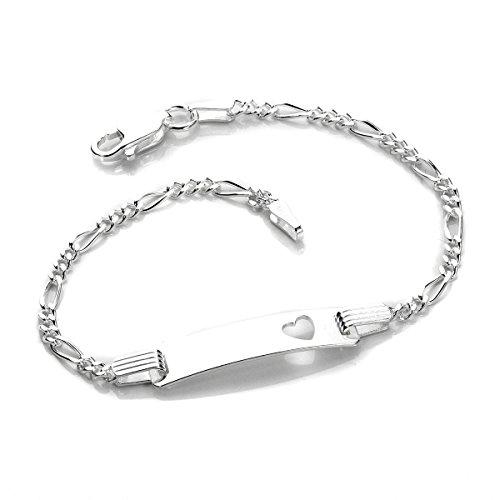 Silver Baby Heart Identity ID Bracelet