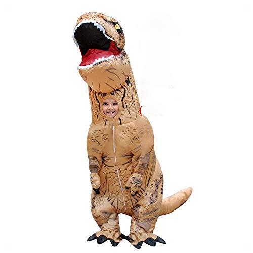 XXF Tuta di Dinosauro Tyrannosaurus Tyrannosaurus Costume Gonfiabile per Bambini Cosplay Cartoon Jurassic Animal Props,Bambino Marrone,Adatto per Bambini 120-150 cm