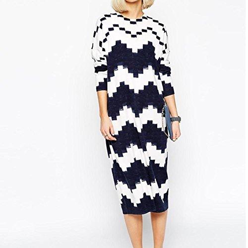YUYU Épaississement longue Section géométrie Europe frappé couleur Pullover Sweater figure color