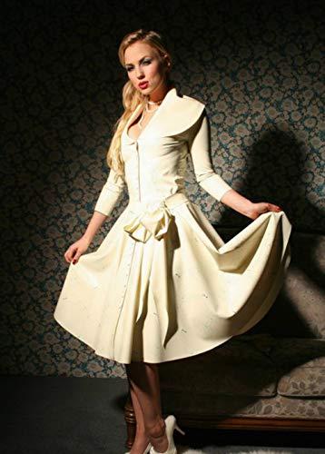 Frauen sexy Latex Kleid Gummi wasserdicht erotische Catsuit Kleid (XL(B100 W84 H102CM))