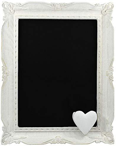 My-goodbuy24 - Lavagna a gesso in legno, stile shabby chic, colore: bianco antico 2 bastoncini di gesso, 35 x 28 x 3 cm, Antik - Weiß, 35 x 28 x 3 cm
