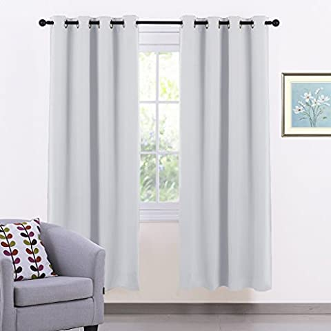 Eyelet Thermal Blackout Curtains Panels - PONY DANCE Blackout Curtains Drapes Premium Solid Room Darkening & Thermal Insulated Window Panels for Nursery, 1 Pair, 46 inch by 72 in (W x L),