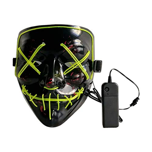 lailongp LED Maske Halloween Scary Maske Cosplay LED Kostüm Maske EL Draht leuchten für Halloween Festival Party, Tanzball, Rave Cosplay, fluoreszierend - Home Made Clown Kostüm