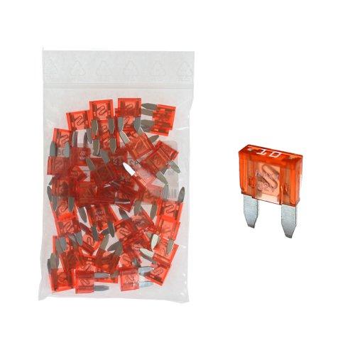 Preisvergleich Produktbild 50 Flachstecksicherung Mini-Sicherung 10A / 32V / rot