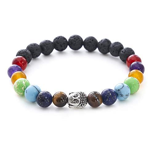 7 Chakren Buddha Armband mit Naturstein und Lavastein Perlen - BERGERLIN Feel Goods
