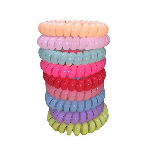 leisial Lot de 10 élastiques cheveux caoutchouc/plastique de spirale