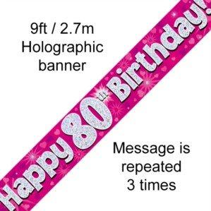 "OakTree - Pancarta holográfica""Happy 80th Birthday"", color rosa - 624580"