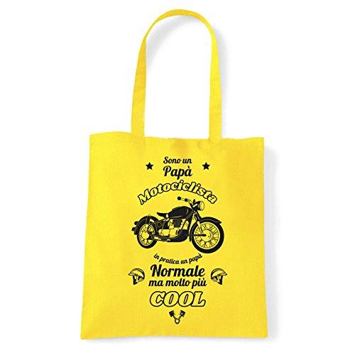 Art T-shirt, Borsa Shoulder Papà Motociclista, Shopper, Mare Giallo