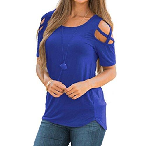 T-Shirt,Honestyi Räumungsverkauf Damen Frühling-Sommer Kurzarm Riemchen Kalte Schulter T-Shirt Oberteile O-Asschnitt Blusen Pullover Tops Shirts Outwear Sweatshirts Große Größe S-XXL (M, Blau) (Baumwolle Pullover Asymmetrische)
