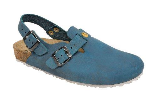 Weeger ESD Clog 48611 - Calzado de protección de cuero nobuck unisex, color azul, talla 40