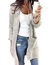 6e91596b3eb9 YOGLY Femme Veste Cardigan Femme Long en Maille Manches Longues Pull Gilet  Tricot Chandail Grande Taille