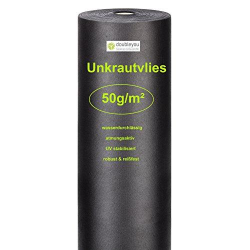 Doubleyou Gartenvlies 48m² (30m x 1,6m) | Anti Unkrautvlies - hohe UV-Stabilisierung | 50g/m² reißfest und wasserdurchlässig