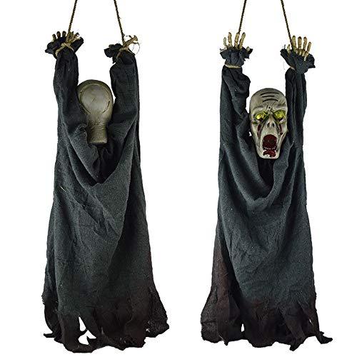 Morbuy Spooky Halloween Hängende Party Dekoration, Zombie Haunted Ghost Anhänger Hängende Geist Spukhaus Versorgung Bühne Dekorationen Leuchtende Elektrische Requisiten Spielzeug (Blau Schwarz)