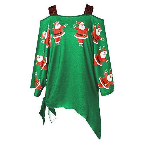 Weihnachten Kleid Damen Partykleider Elegant Abendkleid Weihnachtskleid Frauen Mode Bodycon Sexy Schulterfrei Schlinge Knielang Langarm Rockabilly Mini Kleider Riou (S, Grün C)