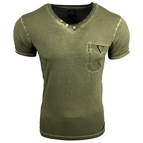 Avroni T-Shirt Herren Rundhals Shirt Anthrazit Blau Grau Weiß Motiv A1-RN15012 Khaki