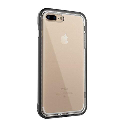 GrandEver iPhone 7 Plus Hülle Dual Layer Hybrid Rahmen mit Weiche TPU Silikon Bumper + Hart PC Zurück Kombination Transparent Schutzhülle Case Cover Scratch-Resistant Tasche für Apple iPhone 7 Plus (5 Schwarz