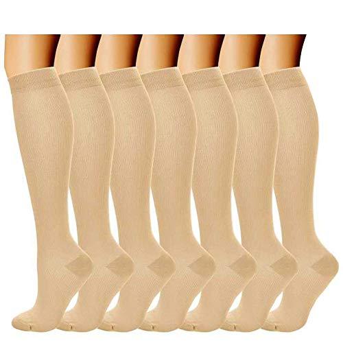 Kompressionssocken/Compression Socks/Strümpfe Kompression/Laufsocken/Thrombosestrümpfe/für Damen Herren, Sport, medi, Flug, Reisen, Schwangerschaft & Medizinische. (S/M, Hautton)