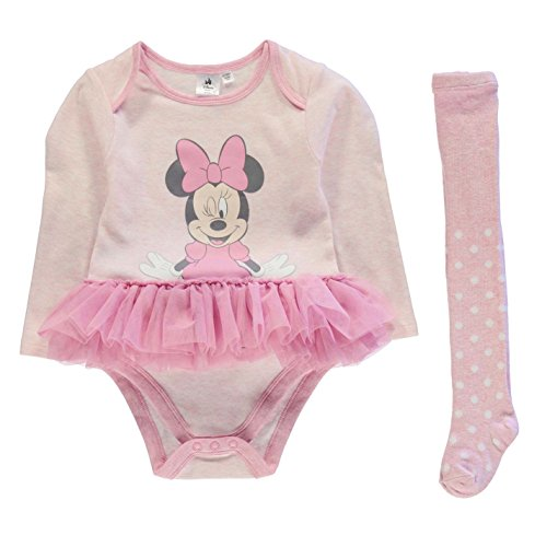 Character Kinder Baby Maedchen Tutu Set Langarm Body Motiv Strumpfhose Outfit Minnie 6-9 Mnth (Knopf-front Seide - Bluse Aus)