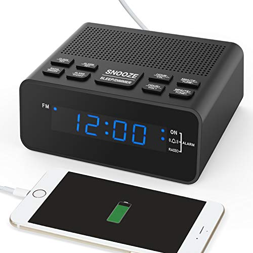 HelloToday Digital-Radiowecker mit Sleep-Timer FM-Radio, 2A USB-Ladeanschluss, 0,6