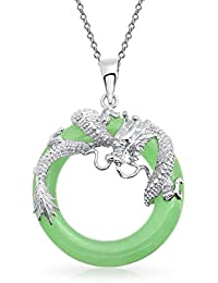 Sterling Silver Dyed Green Jade Dragon Lucky Amulet Pendant Necklace 18 Inch