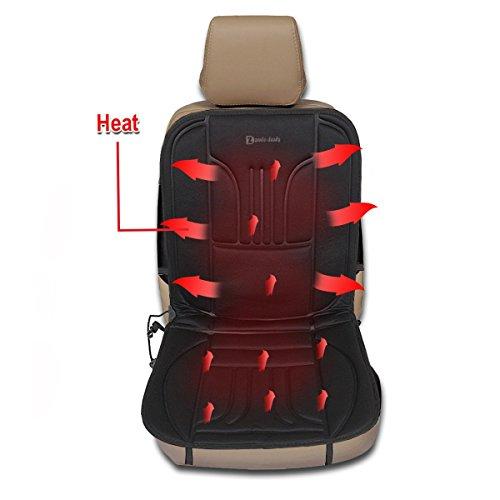 Zento Deals Automotive Premium Quality ultra comodo cuscino del sedile riscaldato auto 12V temperatura regolabile (nero)