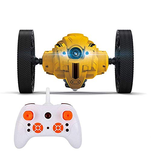 Eulan Wireless Remote Control Jumping Car RC Toy Bounce Car with Lights and Camera Kids Boys Girls Christmas Birthday Gifts Wireless (WiFi Version Yellow)