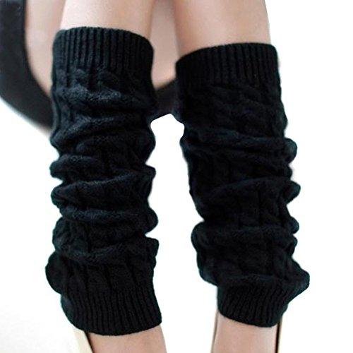 HugeStore Damen Frauen Winter Crochet Stricken Stulpen Beinstulpen Beinwärmer Kniestrümpfe Legwarmers Schwarz -