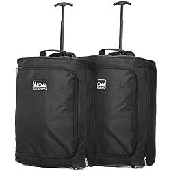 Satz von 2 55x40x20cm Ryanair Maximale Kabinenhandgepäck Approved Trolley-Tasche, 42L (Schwarz)
