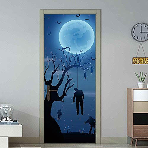 DNFurniture 3D Tür Aufkleber Hängende Zombies 77X200CM Tapete selbstklebend wandaufkleber Aufkleber zuhause visuell Landschaft Kunst Festival PVC DIY Dekoration